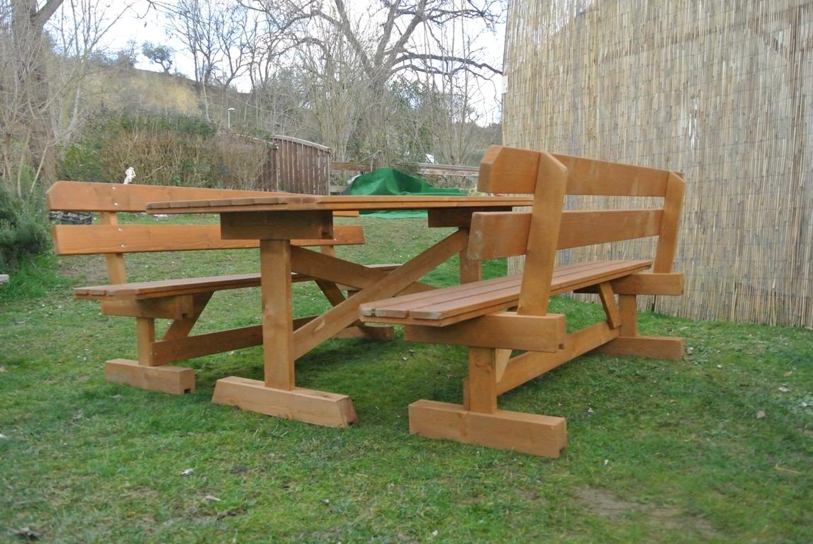 Tavolo da giardino con panche separate e schienale 8 2 for Tavolo quadrato 8 posti