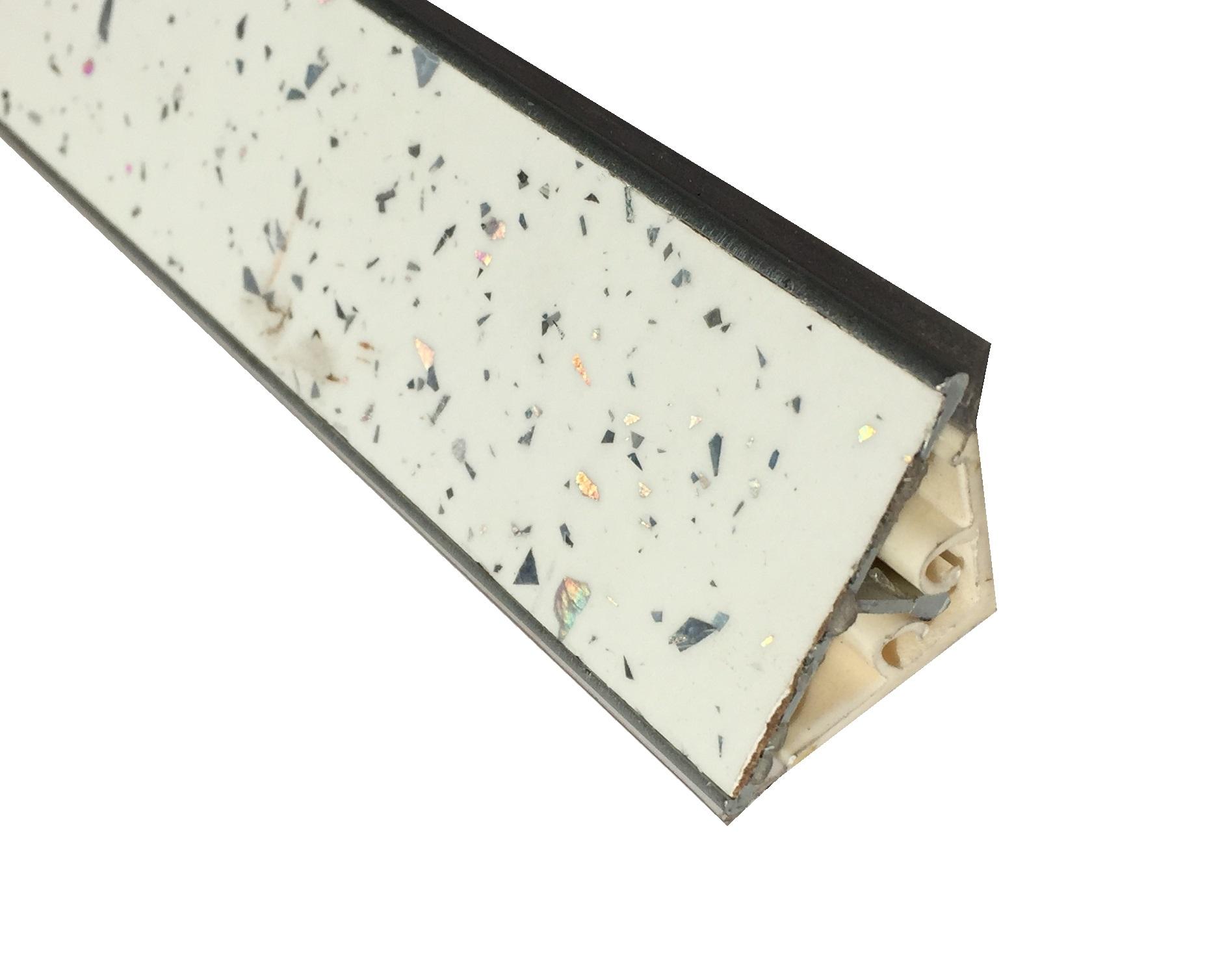 Alzatina per Top Cucina finitura BIANCO con Scaglie di Alluminio