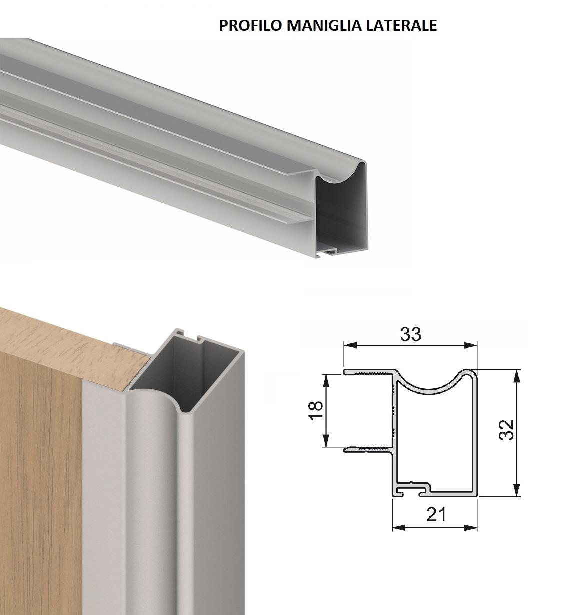 Kit Ante Scorrevoli Per Armadi A Muro.Profilo Maniglia Per Kit Armadio Ante Scorrevoli 18 Mm Placard Emuca
