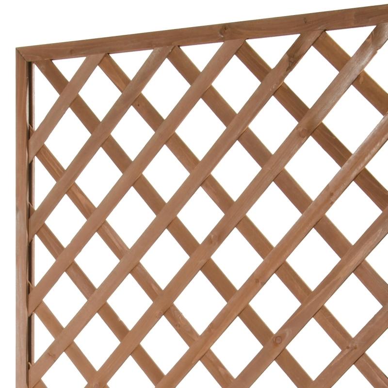 GRIGLIATI IN LEGNO : Pannello grigliato in legno di Cedro Con Fioriera Color Noce cm 40 x 90 x H 180