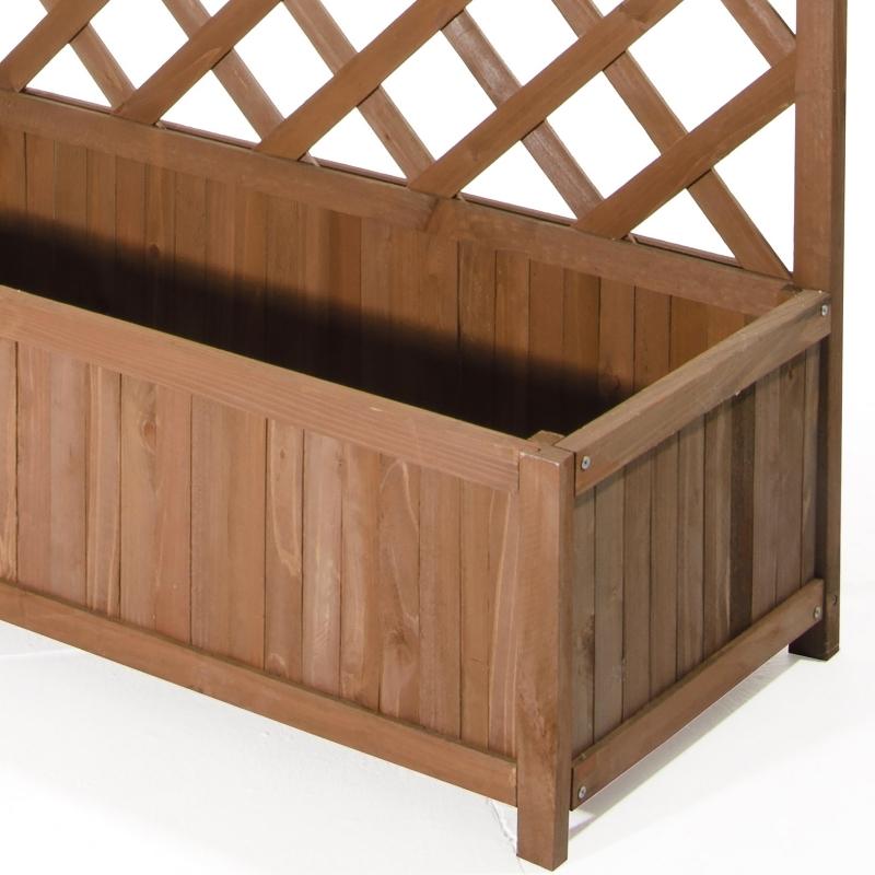 Grigliati in legno pannello grigliato in legno di cedro con fioriera color noce cm 40 x 90 x h 180 - Grigliati in legno ikea ...