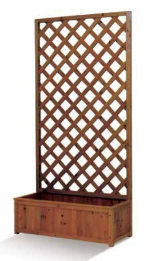 Grigliati in legno pannello grigliato in legno di cedro con fioriera color noce cm 30 x 75 x h 150 - Grigliati in legno ikea ...