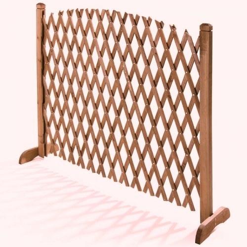 GRIGLIATI IN LEGNO : Pannello grigliato in legno di Cedro estensibile color noce cm 120 x H 150