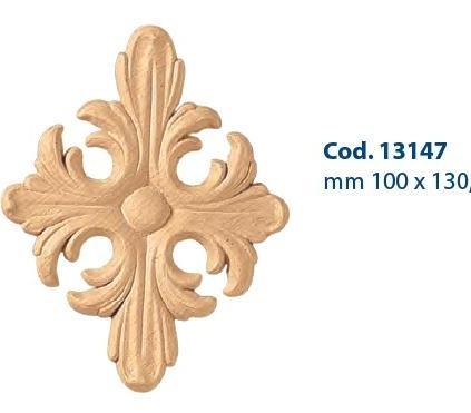 Fregi in Legno Pressato e Fregi in Pasta di Legno : Fregio legno pressato mm 110 x 130 cod. 13147