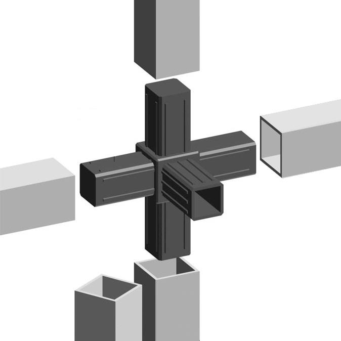 Sistemi Modulari Componibili.Profilo Alluminio E Raccordi Per Scaffali E Strutture Modulari Componibili