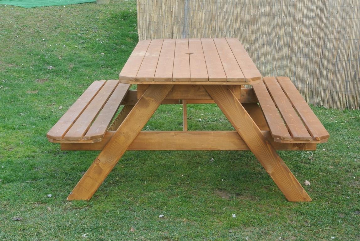 Tavoli in legno per giardino con panche tavolo da for Panca arredo