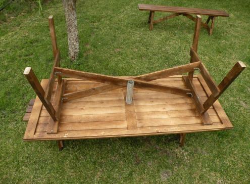 Tavoli in legno per giardino con panche tavolo da giardino con panche separate 8 2 posti - Tavoli per esterno in legno ...